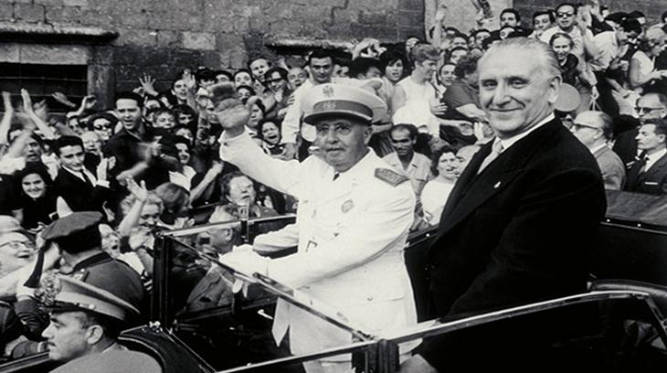 Jose Maria de Porcioles junto al Generalísimo Franco