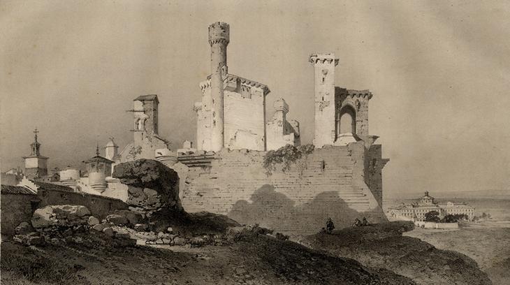 Litografía del Palacio de Olite de 1850