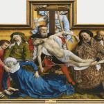 El Descendimiento, Rogier van der Weyden, 220 cm x 262 cm, h. 1435. Madrid, Museo Nacional del Prado