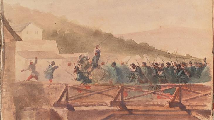 Carga de la brigada Ciria en el puente de Huarte. Recuerdos de una Guerra Civil. Álbum del Bloqueo de Pamplona. Archivo Real y General de Navarra.