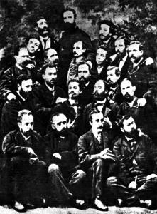 Grupo de fundadores de la Primera Internacional, en Madrid, en octubre de 1868. Fanelli aparece en el centro arriba del todo con una larga barba.