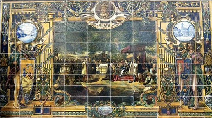 """Los nobles de la Cofradía de Arriaga, o de Álava, en 1332, hacen la """"Voluntaria entrega"""", incorporándose a la Corona de Castilla, nombrando señor a Alfonso XI y disolviendo la Cofradía (Azulejos de la Plaza de España en Sevilla)"""
