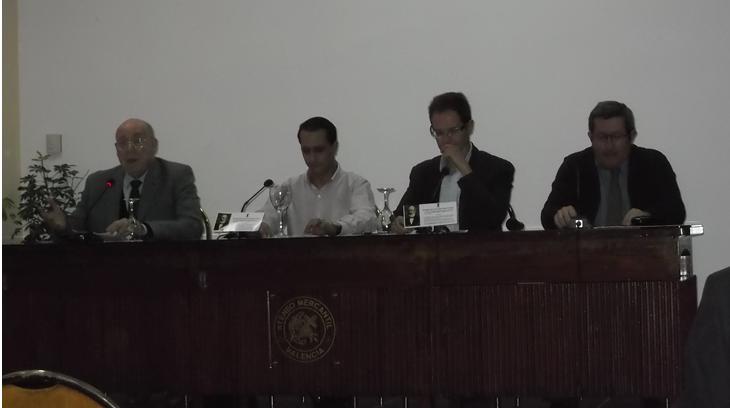 José Miguel Orts, Arturo Martínez García, Luis Ignacio Amorós Sebastiá y Javier Barraycoa Martínez en la mesa redonda sobre la figura del Antonio Aparisi y Guijarro (11/12/2015)