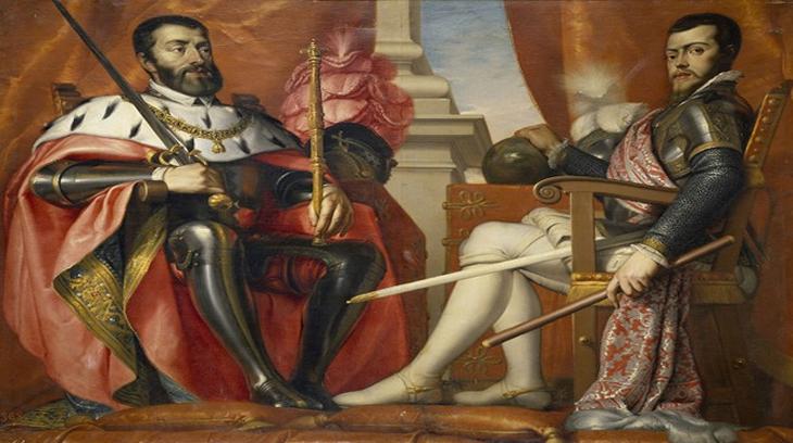 Carlos I y Felipe II, en un óleo de Antonio Arias Fernández. En el grandioso imperio español supuso el inicio del mundo moderno, sin España Europa hubiera sido aniquilada.