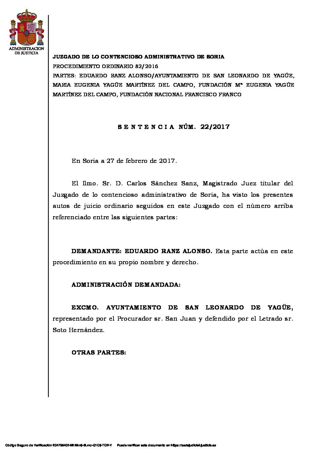 Juzgado CA Soria – Sentencia San Leonardo de Yagüe