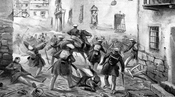Tropas Carlistas a su entrada en Zaragoza en la Primera Guerra Carlista