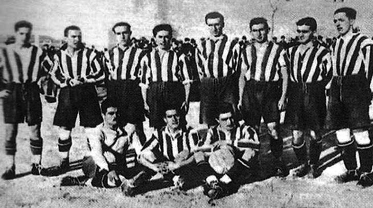 Athletic Club de Madrid. Arriba: Luis Olaso , Fajardo , Pololo , Sansinenea , Mieg , Tuduri , Triana , Escalera . Abajo : Duran , Del Rio , Olalquiaga .