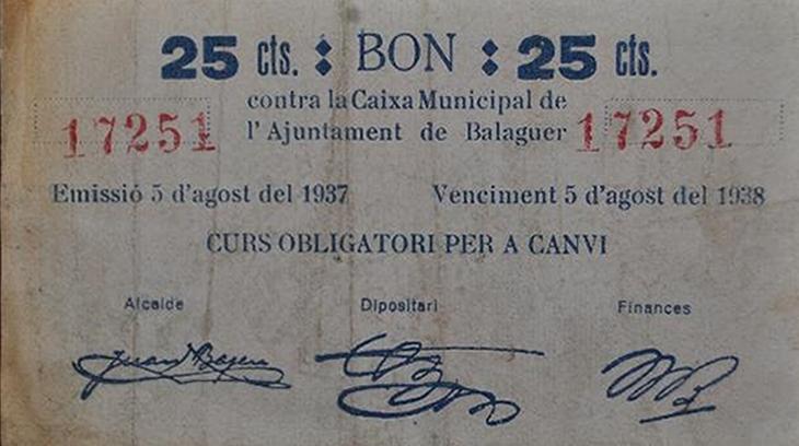 Billete de 25 céntimo emitido por el Ayuntamiento de Balaguer (1937)