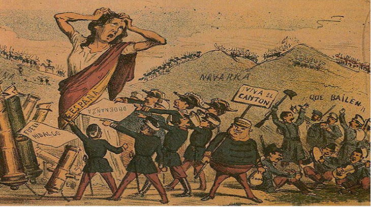 Alegoría de España deshecha por el cantonalismo federal.