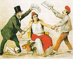 Caricatura de la revista satírica La Flaca del 3 de marzo de 1873 sobre la pugna entre los radicales, que defienden la república unitaria, y los republicanos federales que defienden la federal