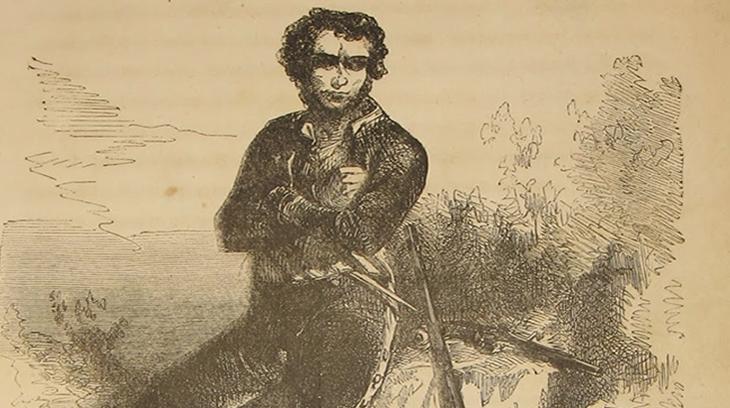 José Pujol (Boquica) según un grabado de la novela de Arago.