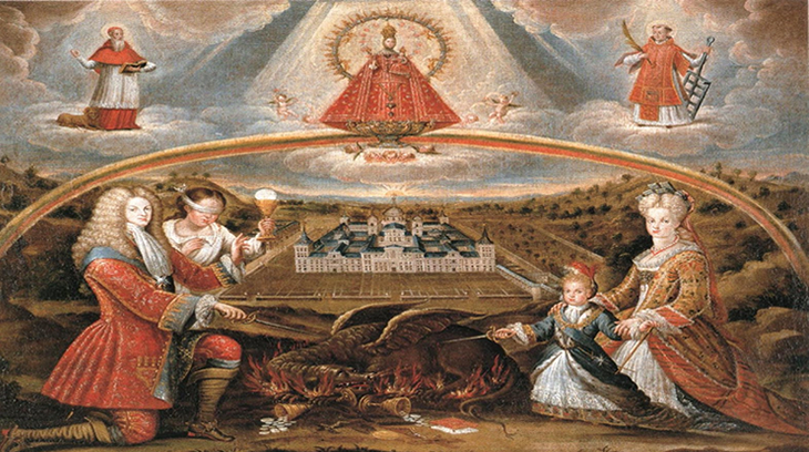 Alegoría del Imperio Español en lucha contra la herejía. El Rey Felipe V y el principe de Asturias con sendas espadas hieren al dragón de la herejía.