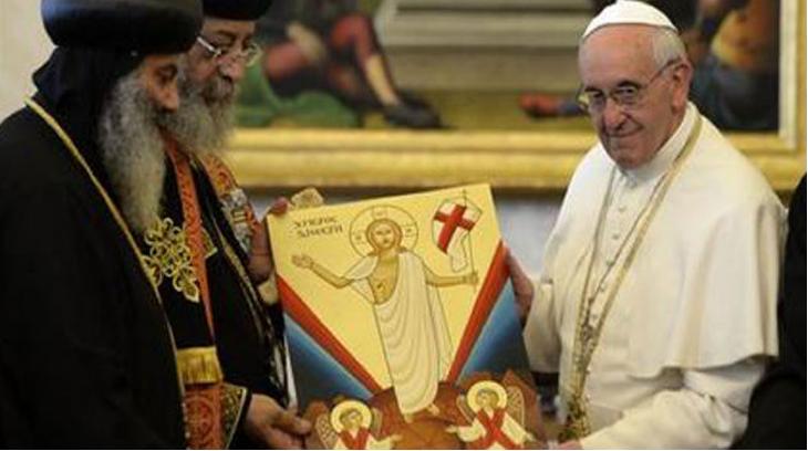 El Papa Francisco y Teodoro II de la Iglesia Ortodoxa Copta