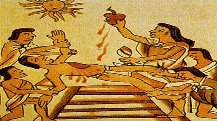 Numerosos pueblos preconlombinos eran caníbales y realizaban sacrificios humanos.