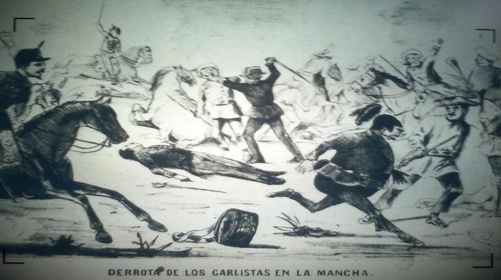Derrota de los carlistas en La Mancha, dibujo de Eduardo Sojo. Biblioteca Nacional de España (INVENT/17931 Microfilm)