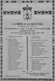 Relación de sacrificados por la Partida de Los Palillos en la villa de Orgaz el día 26 de febrero de 1839.